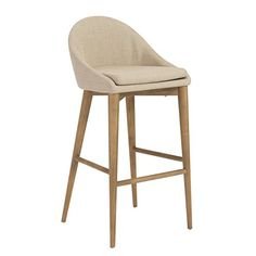 Euro Style Baruch Bar Height Stool in Walnut Finished Legs, Tan
