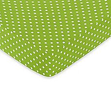BBB - $20 - image of Sweet Jojo Designs Lime and Black Spirodot Fitted Polka Dot Print Crib Sheet in White/Lime