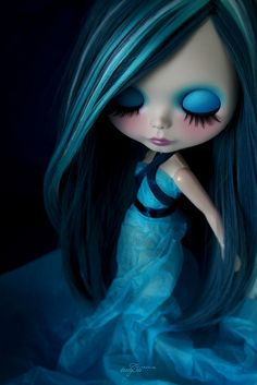 Blue sensations ~ altered Blythe doll by Rafael R. Girona