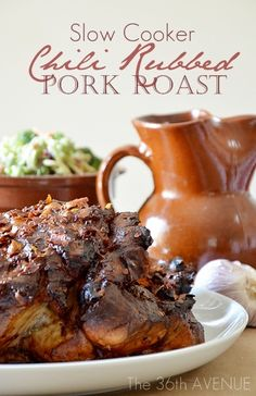 Chili Rubbed Pork Roast. Easy and delicious Slow Cooker Recipe. #roast #recipes