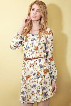 Moonbasa Flower Print Dress with Belt