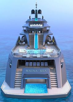 Futuristic Superyacht Concept Mauna Kea — Yacht Charter & Superyacht News Mauna Kea: aft view. Superyacht concept by Fincantieri and Roberto Curto Yacht Design, Boat Design, Cool Boats, Small Boats, Super Yachts, Yachting Club, Yatch Boat, Luxury Yacht Interior, Luxury Yachts For Sale
