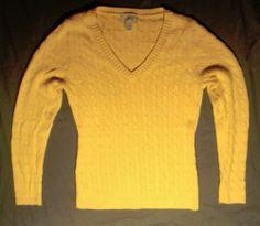 Women's Ann Taylor Loft Cable Knit Bright Yellow Sweater Size M | eBay