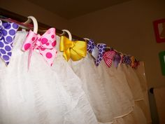 DIY Shower Curtain Ring Bows... Actually got this idea on my own :)