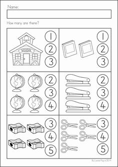 Back to School Math & Literacy Worksheets and Activities No Prep Kindergarten Back to School Math & Literacy Worksheets and Activities. A page from the unit: count how many Back To School Worksheets, Kindergarten Math Worksheets, Math Literacy, Preschool Printables, Worksheets For Kids, Preschool Learning, Math Activities, Teaching, Kindergarten Prep