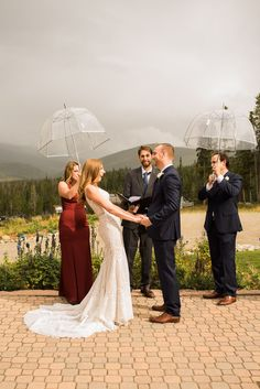 How cute is this couple about to go in for their first kiss?! Loved this moment from their mountain wedding ceremony! To see more from this Colorado mountain wedding in Breckenridge check out the rest of the blog! Breckenridge Resort, Colorado Mountain Wedding Venues, Rain Photography, Wedding Ceremony, Reception, Spring Wedding, Weddings, Wedding Dresses, September