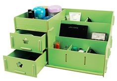 Menu Life Home Office Desk Storage Organiser Boxes Lady Jewellery Storage Boxes Jewelry and Cosmetic Storage Wood Makeup Organizer (Light Green) Menu Life