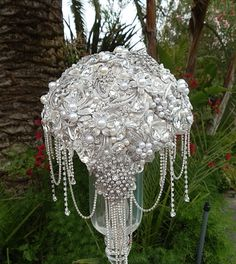 CASCADING WEDDING BOUQUET - Deposit for this Custom Made Vintage style Bridal Brooch Bouquet, Cascading Bouquet