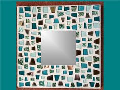 Beach Glass Blue Green Silver  Mosaic Mirror by AirAndSeaPlanet, $21.00