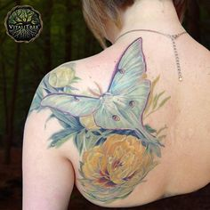 Sup 2017? Nice to meet you. My name is VitaliTreeTattoo may I have your number? Wh-what? It's 2-0-1-7? Well I'll be smitten! You're here already... Our first post of the year commences with a lovely #photorealistic #backpiece featuring a #LunaMoth flying above a #PeonyFlower. Looks like we've got a nicely rendered #symbolictattoo!  A quick google search reveals a long history of the #peony from China to Ancient Greece and most recently to premodern England. The flower universally speaks to…
