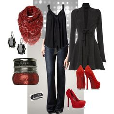 Love the touches of red This is my fave outfit so far....