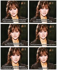 This page has a lot of funny quotes from Jen Lawrence, but this one actually means a lot to me. You go girl! Change it! | Things You Can Learn About Eating From Jennifer Lawrence