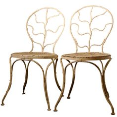 """Two """"Giacometti"""" Wrought Iron Side Chairs for Jean Michel Frank, 1935   From a unique collection of antique and modern chairs at https://www.1stdibs.com/furniture/seating/chairs/"""
