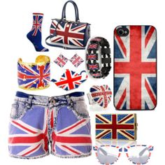 not an outfit.. just British flag stuff!