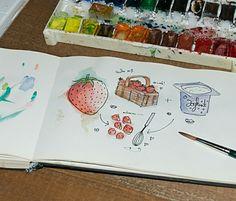 Erdbeerjoghurt. Illustration von www.rauschsinnig.de #erdbeer  #illustration #watercolour #aquarellzeichnung
