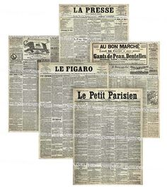 Old French Newspapers Decoupage ACEO ATC size Paris France French Backgrounds Digital Collage Sheet Download 199. $3.99, via Etsy.
