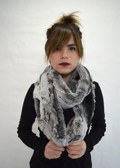 Real fur scarf rex rabbit fur scarf  wrap scarf extra by BeFur