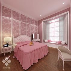 Girl's bedroom dominated in pink and white for a feminine and cute atmoshphere. A playful and comfortable room not only you but also for friends to have sleepover and pajama party.  Designed by @culturainterior  #interior #interordesign #bedroom #bedroomdesign #bedroominterior #interiorinspiration #interiorindonesia #interiorsemarang #culturainterior