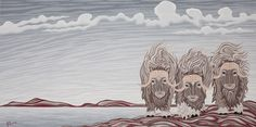 Musk Ox, by Robbie Craig Musk Ox, Paint Photography, Canadian Art, Art Projects, Whimsical, Wildlife, Artsy, Tapestry, Watercolor