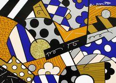 Romero Britto,  The Blues, 2017,  serigrafia su tela con polvere di diamente, cm 46x61