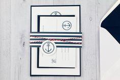 Nautical Wedding Invitation - Nautical Invite - White and Navy Wedding Invitation on Etsy