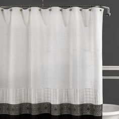 Romana Black and White Fabric Shower Curtain