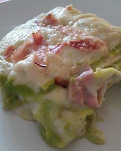 Lasagne con crema di asparagi e prosicutto