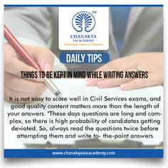 """#DailyTips   #ThingsToBekeptInMindWhileWritingAnswers   #CurrentAffairs   It is not easy to score well in Civil Services exams, and good quality content matters more than the length of your answers. """"These days questions are long and complex, so there is high probability of candidates getting deviated. So, always read the questions twice before attempting them and write to- the-point answers  #UPSC #IasExam brought to you by #ChanakyaIasAcademy"""