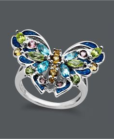 Town & Country Sterling Silver Ring, Multistone Butterfly Ring (1-13/15 ct. t.w.) - Rings - Jewelry & Watches - Macy's