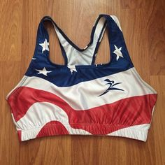 American flag sports bra size small Size small but runs generously. The stitching is messed up in one spot (shown in the pics), but it does not affect the sports bra and did not cause any tears or holes. Feel free to ask any questions. No trades Intimates & Sleepwear Bras