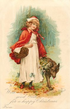 Nightbird Graphics: Little Red Riding Hood Vintage Christmas Postcard...
