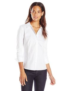 0cbd2a351 Calvin Klein Women's Knit Combo Blouse with Collar at Amazon Women's  Clothing store: