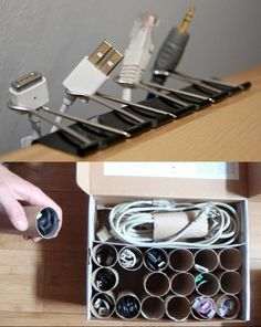 If your numerous wires, plugs and cables are a tangled mess, these simple solutions may help. Love the cardboard tubes for storage, such a great idea!  Photo from Twisted Sifter on Facebook!  	  http://TwistedSifter.com