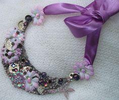Steampunk Statement NecklacePurple Spring by picsoflive on Etsy, $43.00 Pandora Charms, Steampunk, Vintage Jewelry, Charmed, Spring, Bracelets, Etsy, Bangle Bracelets, Vintage Jewellery