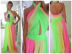 Images and videos of Neon fashion Fabulous Dresses, Beautiful Dresses, Beautiful Things, Buy Dress, Dress Me Up, Dress Long, Neon Dresses, Evening Dresses, Cute Outfits