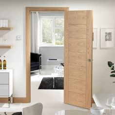 Bespoke Palermo Oak Door with Panel Effect - Prefinished. #oakdoor #elegantinteriordoor #bespokeoakdoor