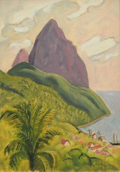 The Pitons, St Lucia (c. 1960)  - John Lyman Matisse, Pitons St Lucia, Modern Art, Contemporary Art, Canadian Art, North Africa, Painting Inspiration, Caribbean, Scene