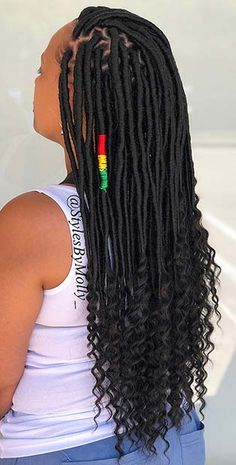 43 ways to pull off goddess faux locs page 4 of 4 stayglam blackpromhairstyles Faux Locs Hairstyles, Twist Braid Hairstyles, Crochet Braids Hairstyles, African Braids Hairstyles, My Hairstyle, Twist Braids, Twists, Faux Locs Marley Hair, Curly Faux Locs