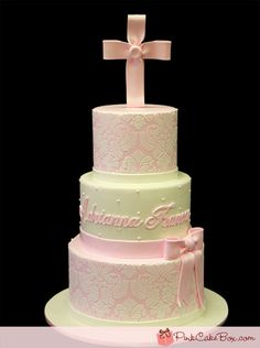 You searched for christening - Pink Cake Box Custom Cakes & Torta Baby Shower, Shower Cake, Pretty Cakes, Beautiful Cakes, Comunion Cakes, Damask Cake, Pink Damask, Pink Cake Box, Cross Cakes
