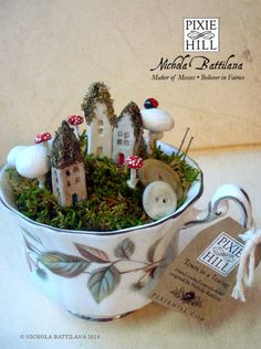 Fairy town in a teacup   Faerie Houses Moss and by PixieHillStudio, $45.00
