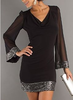 Stylish Cowl Neck Long Sleeve See-Through Voile Spliced Dress For Women Elegant Dresses, Cute Dresses, Casual Dresses, Cheap Dresses, Maxi Dresses, Formal Dresses, Dress Outfits, Fashion Dresses, Dress Clothes