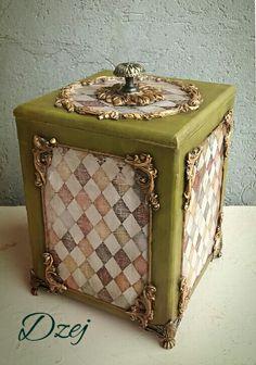 Decoupage Box, Altered Boxes, Diy Videos, Creative Decor, Diy Furniture, Stencils, Suitcase, Decorative Boxes, Cute Box