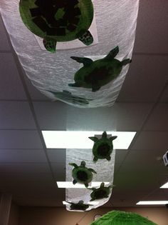 Completely Kindergarten: Ocean Unit Sea turtles traveling through the ocean by currents. Paper plate turtles with sea turtle writing stapled to the back. Kindergarten Classroom, Classroom Themes, School Classroom, Birthday Display In Classroom, Classroom Ceiling, Think Tank, Decoration Creche, Ocean Crafts, Sea Turtle Crafts