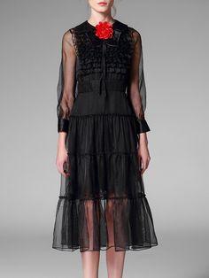 #AdoreWe #StyleWe Midi Dresses - Designer Pokwai Black Peter Pan Collar See Through Casual Ruffled Midi Dress With Camis - AdoreWe.com