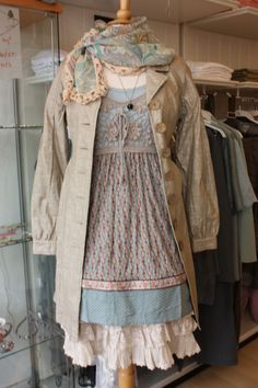 layering : noa noa underdress, container tunic, cream skirt, kudibal scarf, container coat