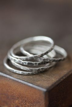 Hammered Oxidized Sterling Silver Stacking Rings - as seen in Refinery 29