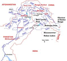 Indus River System - Jhelum-Chenab-Sutjaj-Ravi-Beas Geography Map, Geography Lessons, Physical Geography, Teaching Geography, General Knowledge Book, Gernal Knowledge, Knowledge Quotes, India World Map, India Map