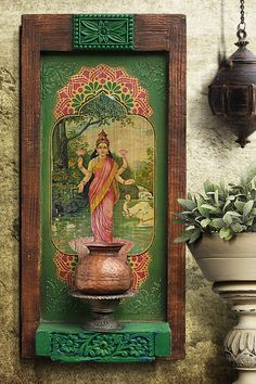 These vintage items are handcrafted, hand-painted and one of a kind treasures, so they may have slight imperfections that add to the beauty and charm of these handmade creations.  #walldecor#lakshmi#vintagewalldecor#livintagedecor#gallerywall#homerenovation#makehomematter#ethnicdecor#homedecorideas#indiandecor#indianhomedecor#wallart India Home Decor, Ethnic Home Decor, Vintage Walls, Vintage Decor, Vintage Items, Indian Inspired Decor, Pooja Room Design, Indian Interiors, Wall Decor Design