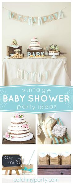 Don't miss this beuatiful vintage rustic baby shower. The dessert table is gorgeous!! See more party ideas and share yours at CatchMyParty.com