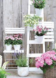 Witte tuinmeubelen met lichtroze planten.